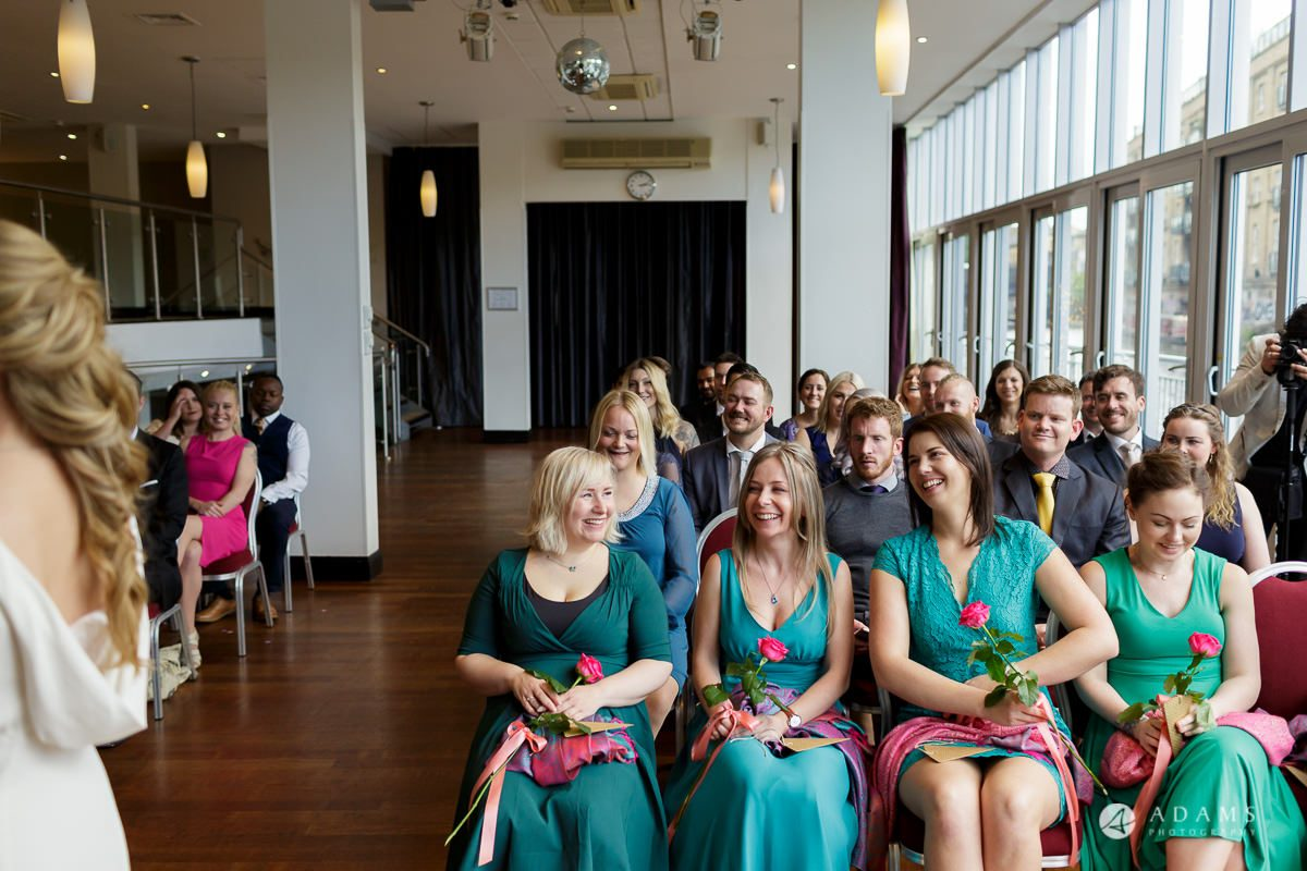 Camden Town wedding guests smiling