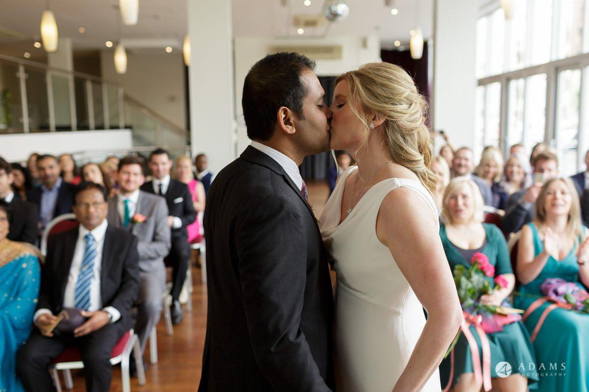 Camden Town wedding first kiss
