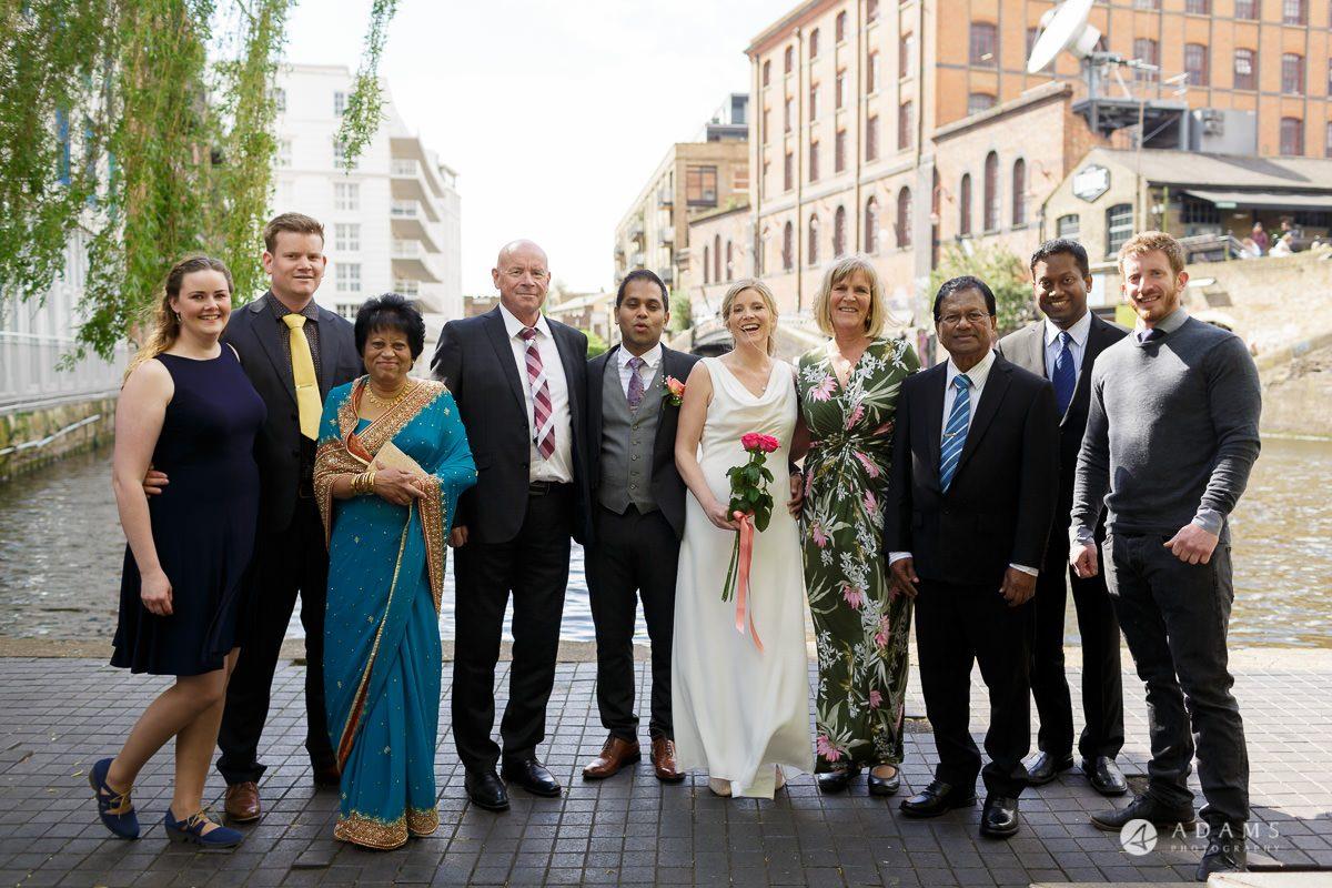 Camden Town wedding family group shot