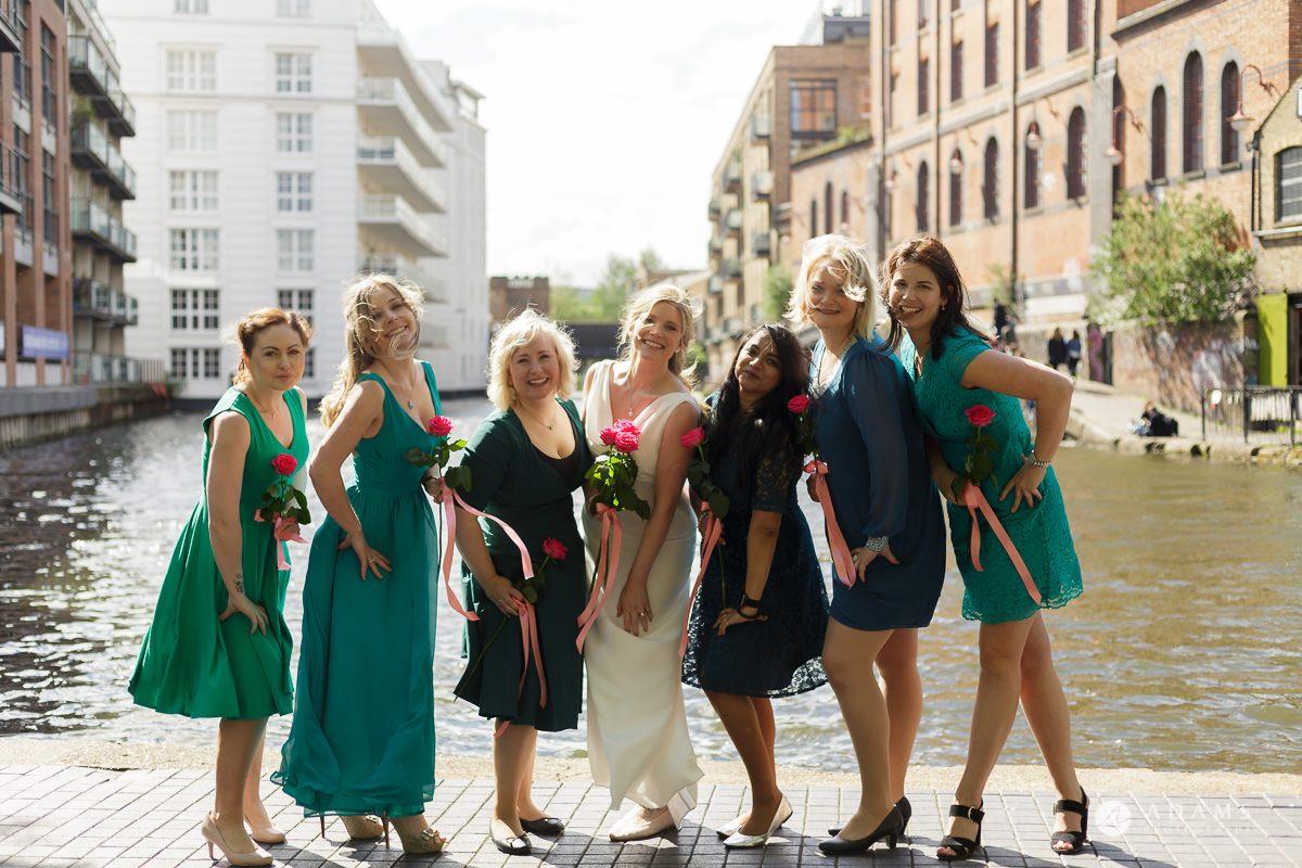 Camden Town wedding bride and bridesmaids photo