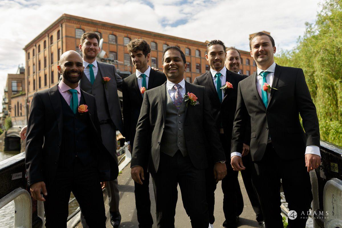 Camden Town wedding groom and groomsmen photo