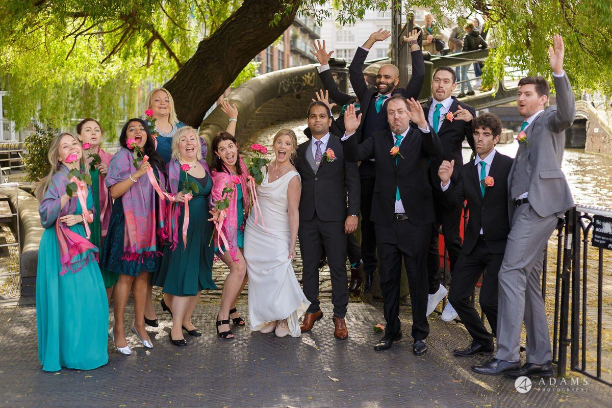 Camden Town wedding bridal party group photo