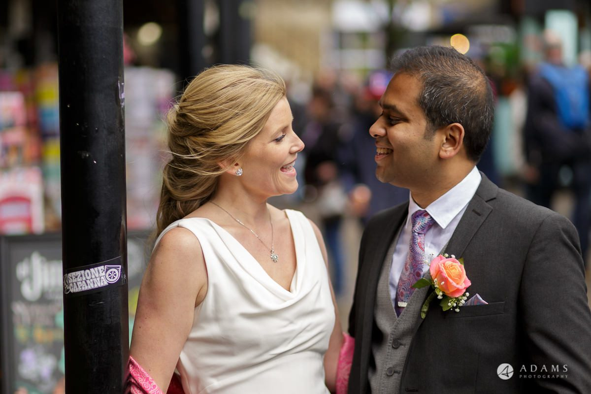 Camden Town wedding couple looking at each other with love