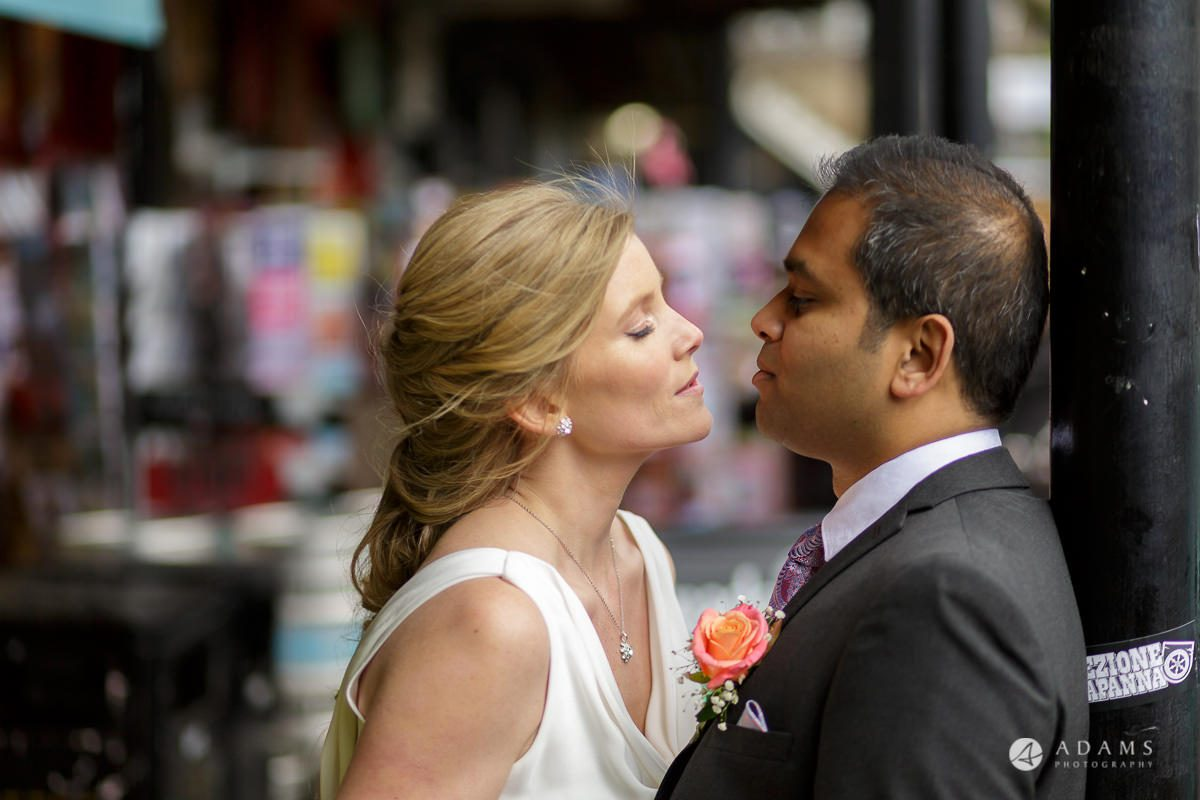 Camden Town wedding married couple about to kiss