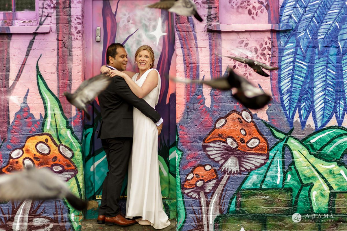 Camden Town wedding photoshoot with graffiti in the background