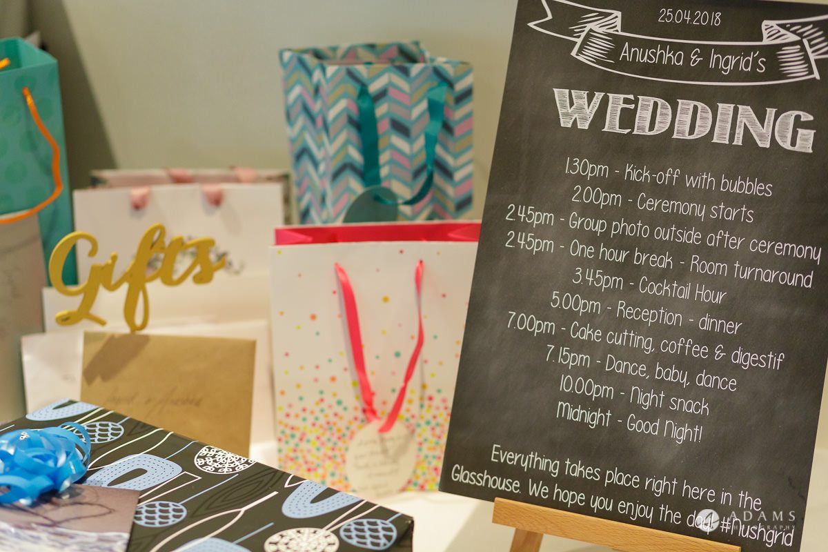 Camden Town wedding decoration gift table