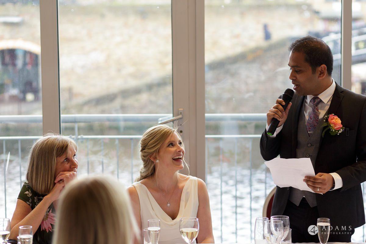Camden Town wedding bride reaction to groom speech