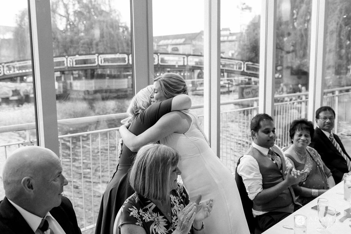 Camden Town wedding hugs