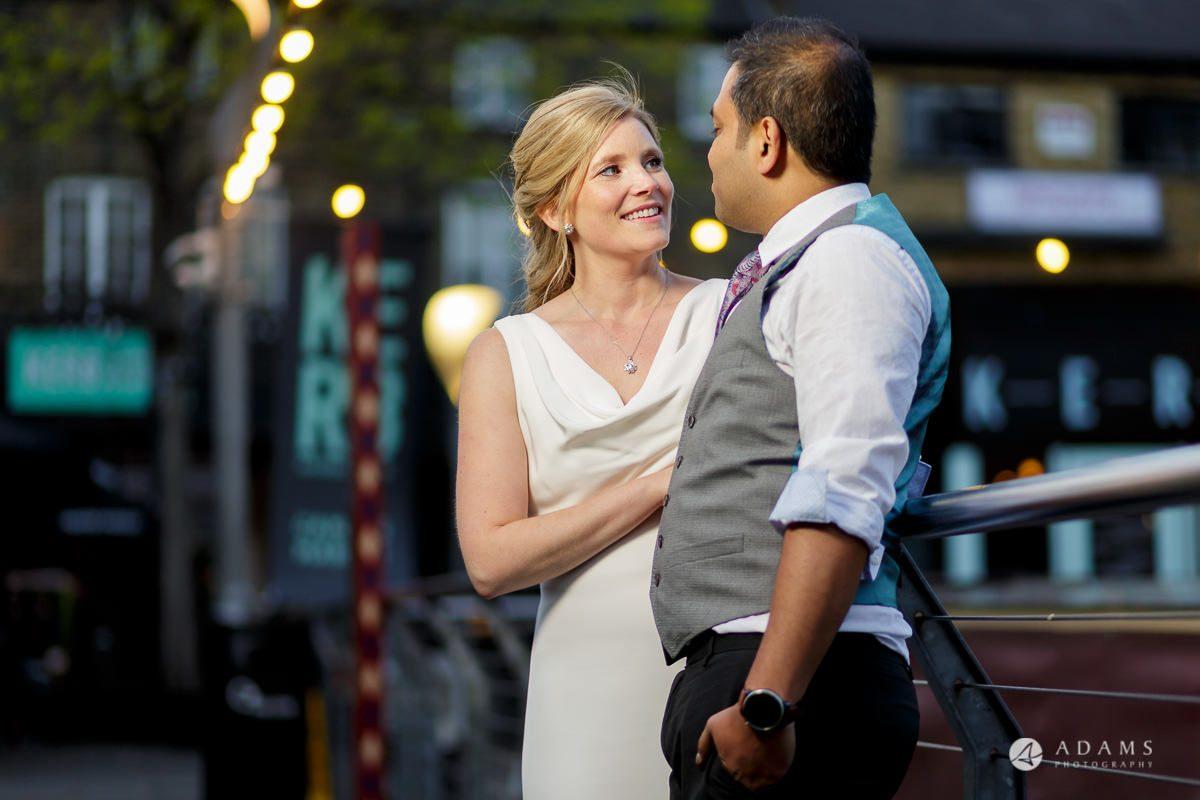 Camden Town wedding couple on the bridge