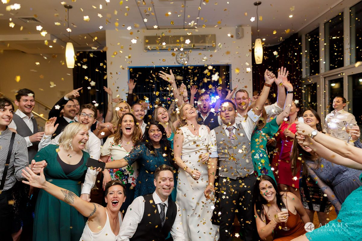 Camden Town wedding confetti shower during the party