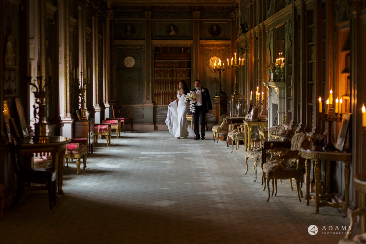 syon park house wedding bride and father of the bride in the walking room