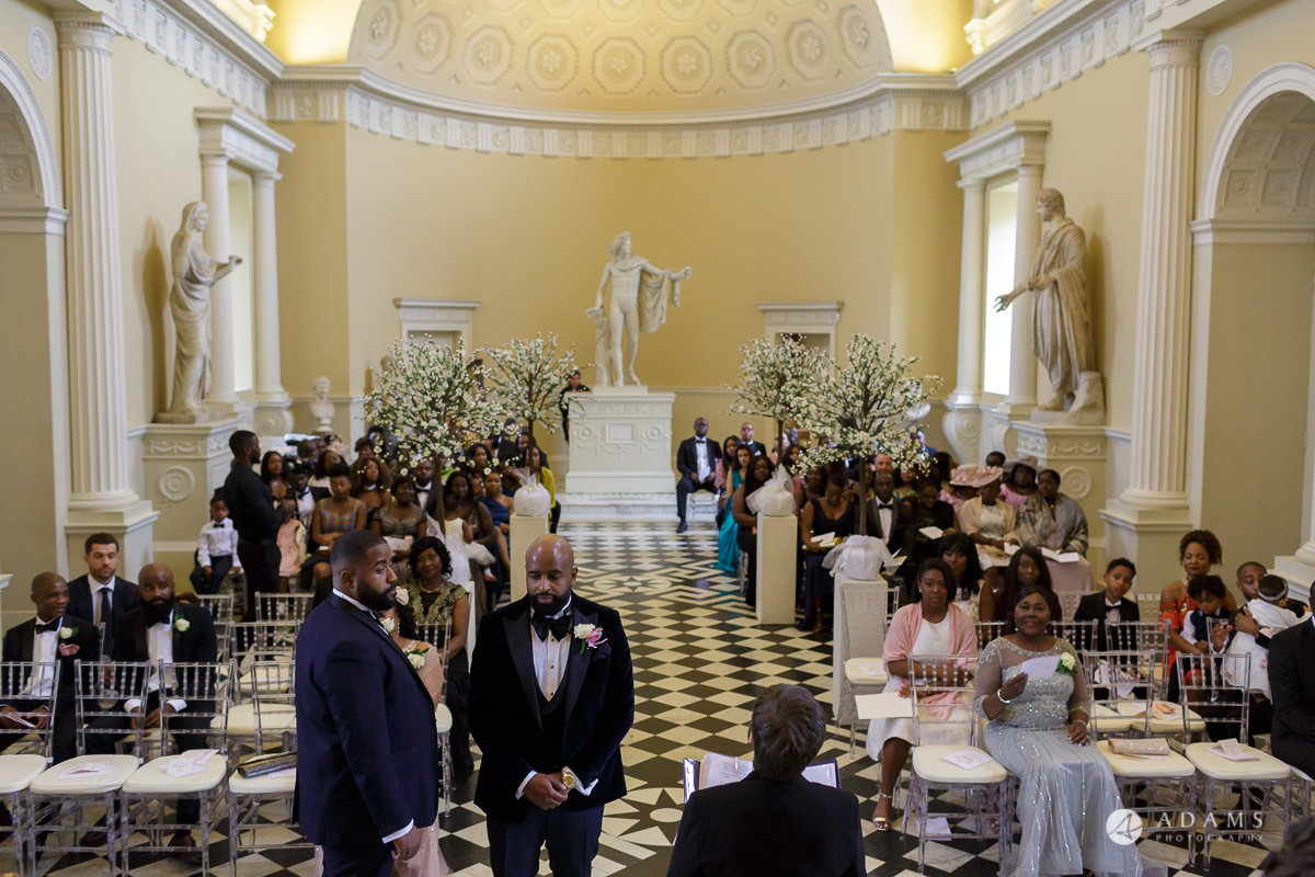 syon park house wedding groom is waiting