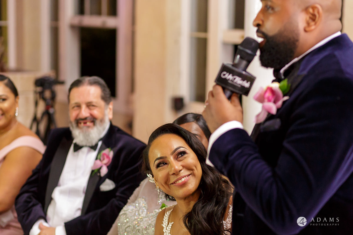 syon park house wedding bride look in the eyes of the groom