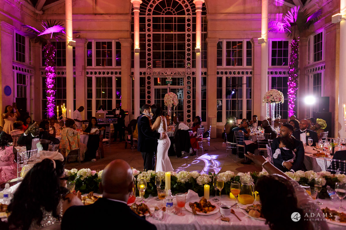 syon park house wedding bride dances with her father