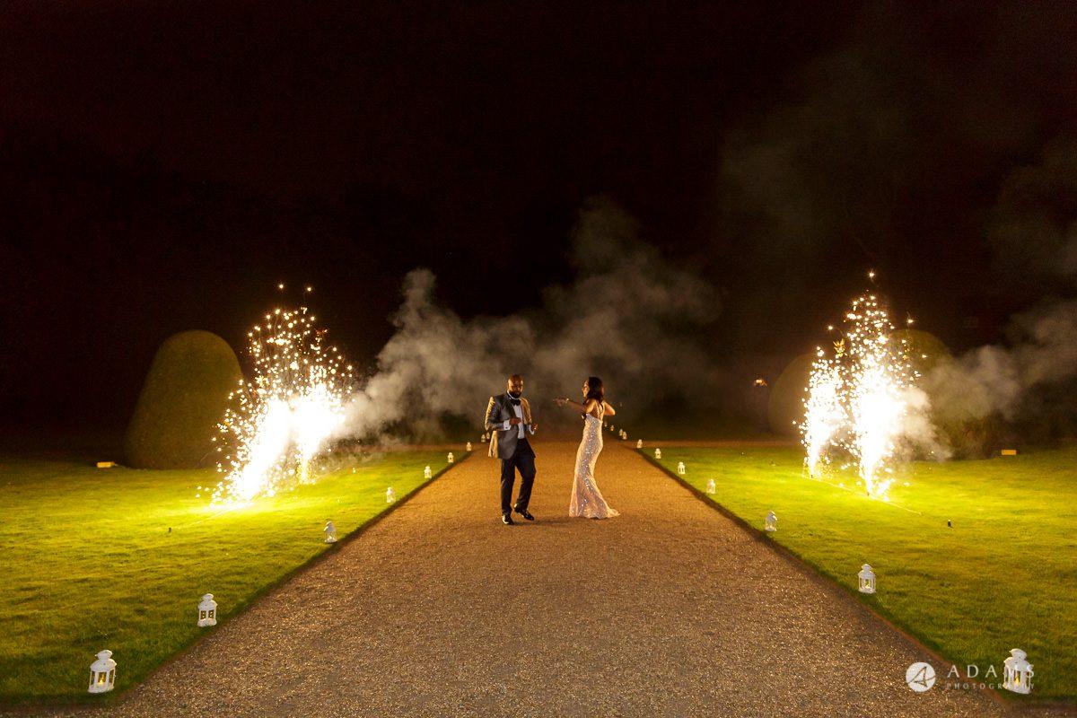Nigerian weddng syon park house wedding fireworks
