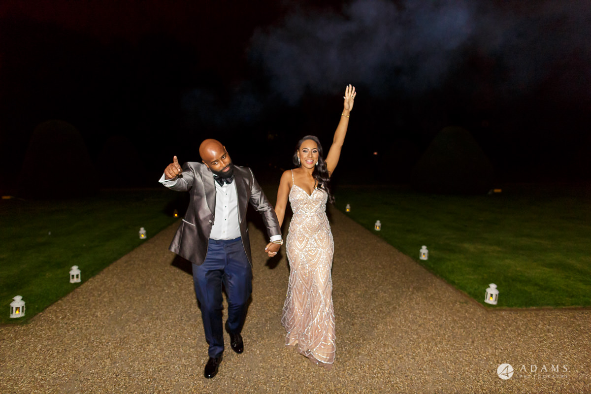 syon park house wedding couple walks after fireworks