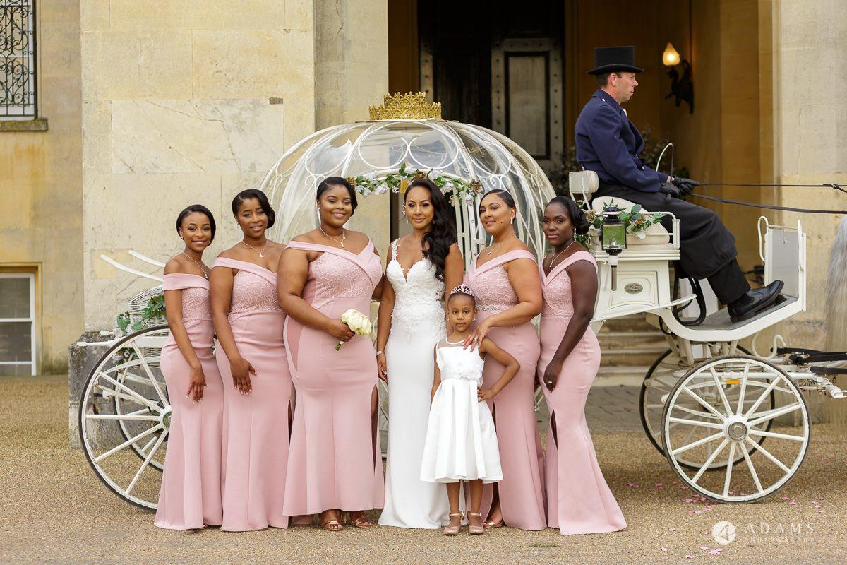 syon park house weddingbbride and her bridesmaids group photo