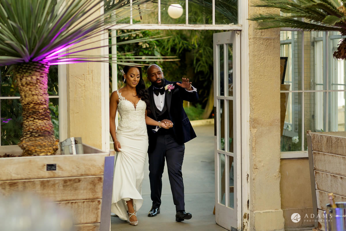 syon park house wedding bride and groom entrance into the conservatory