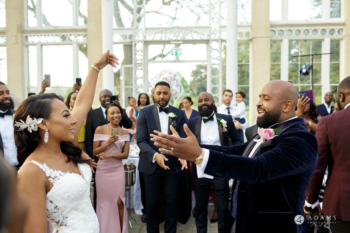 syon park house wedding bride and groom dance