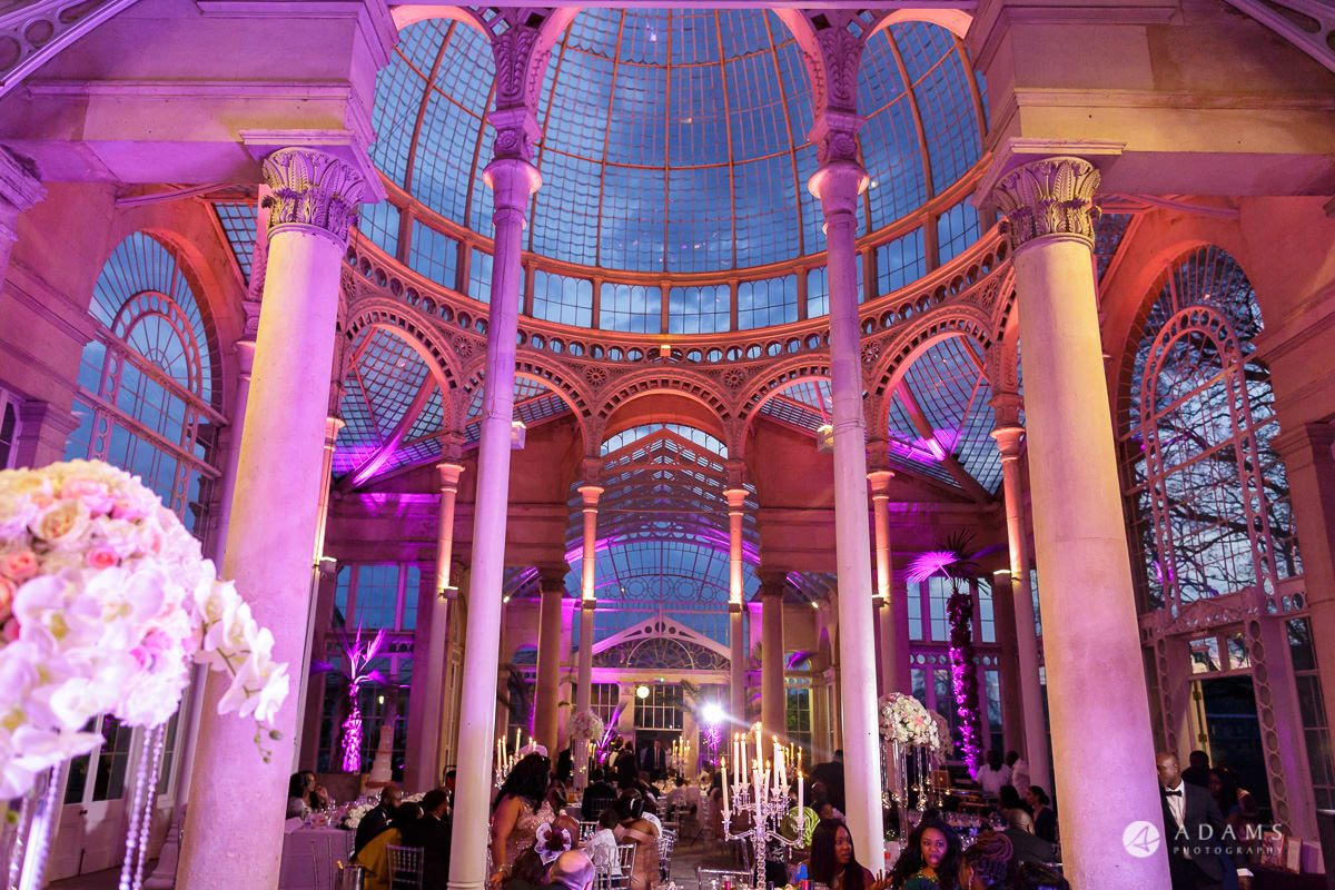 syon park house wedding view in the evening of the conservatory