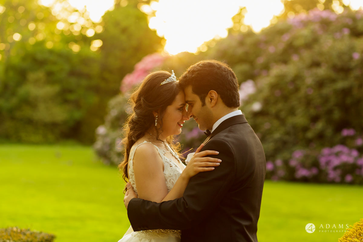 pinewood studios wedding photography of the couple during the golden hour