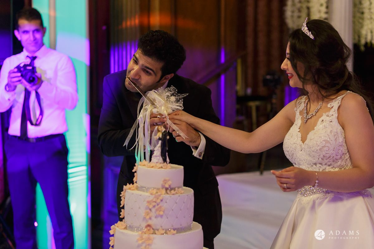 pinewood studios wedding room lick the knife after the cake cutting
