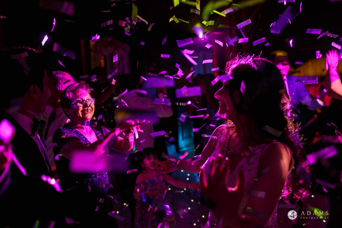 pinewood studios wedding confetti over the guests
