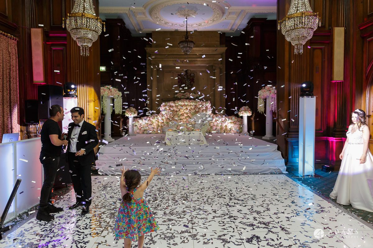 pinewood studios wedding dance floor full of confetti
