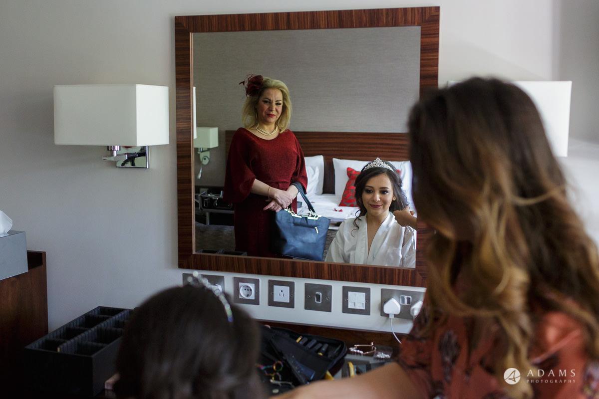 pinewood studios wedding bride reflection in the mirror