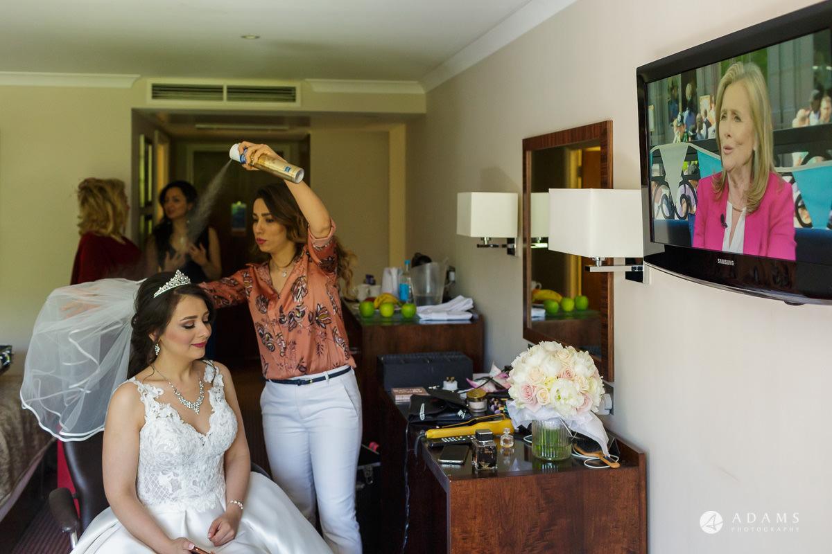 pinewood studios wedding hair spray
