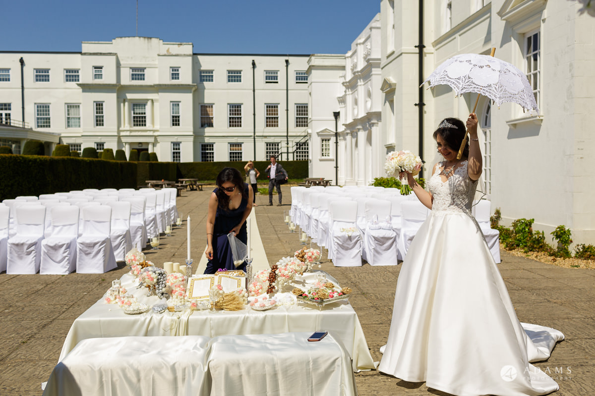 pinewood studios wedding bride check the ceremony layout