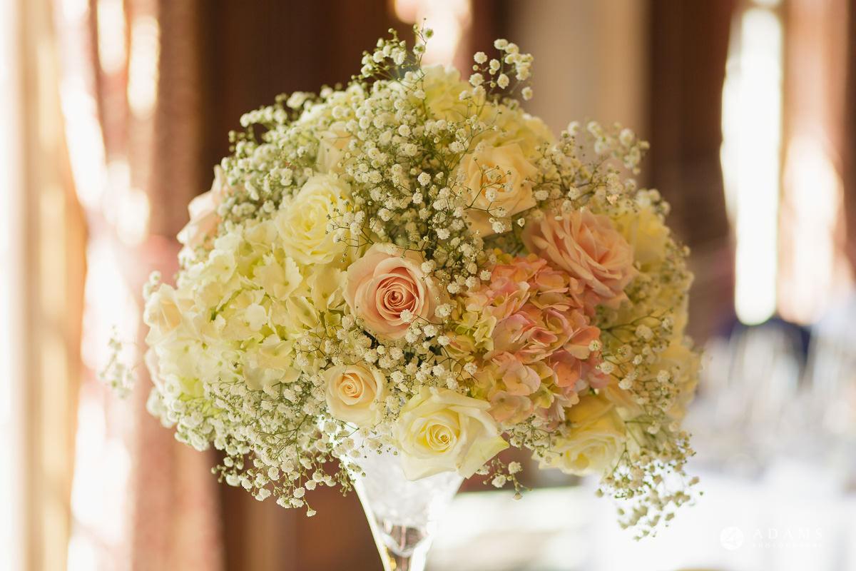 pinewood studios wedding flowers on the table