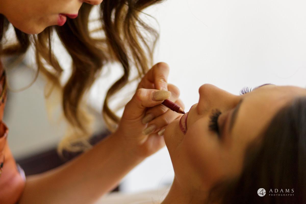 pinewood studios wedding photographer makeup of the bride close up
