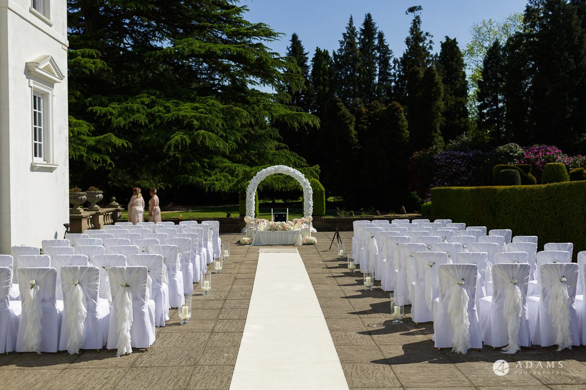 pinewood studios wedding ceremony outside layout