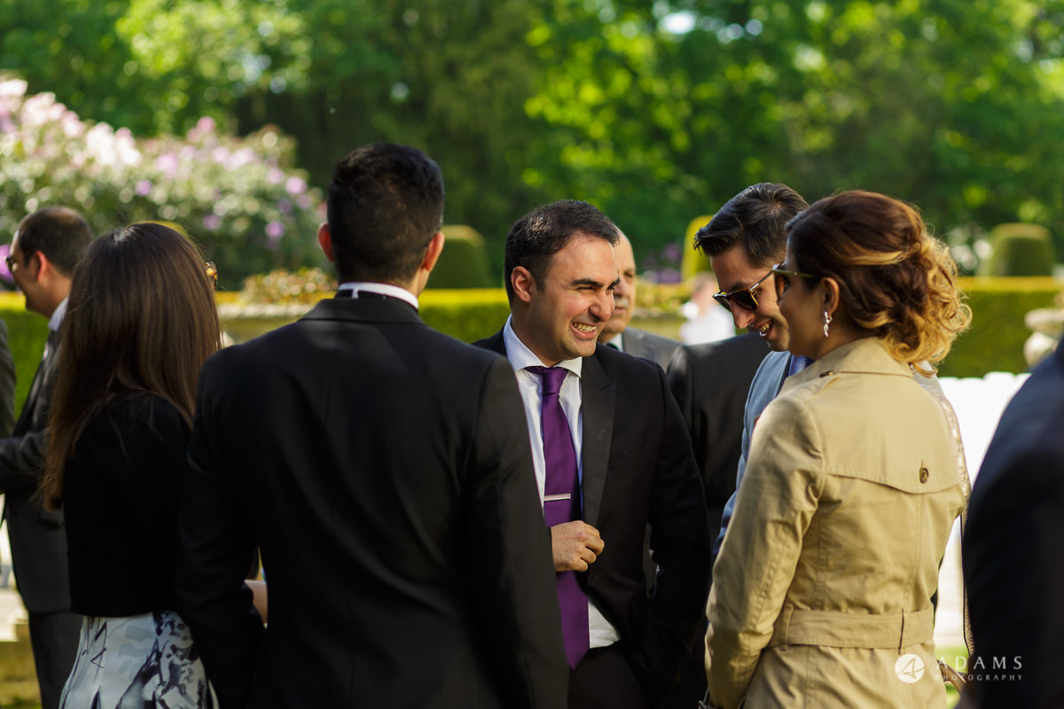 pinewood studios wedding guests talk to each other before the ceremony