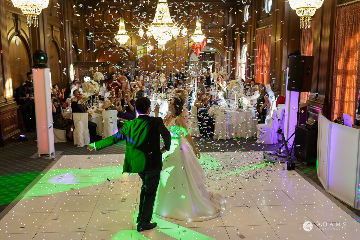 pinewood studios wedding photography confetti on the dance floor