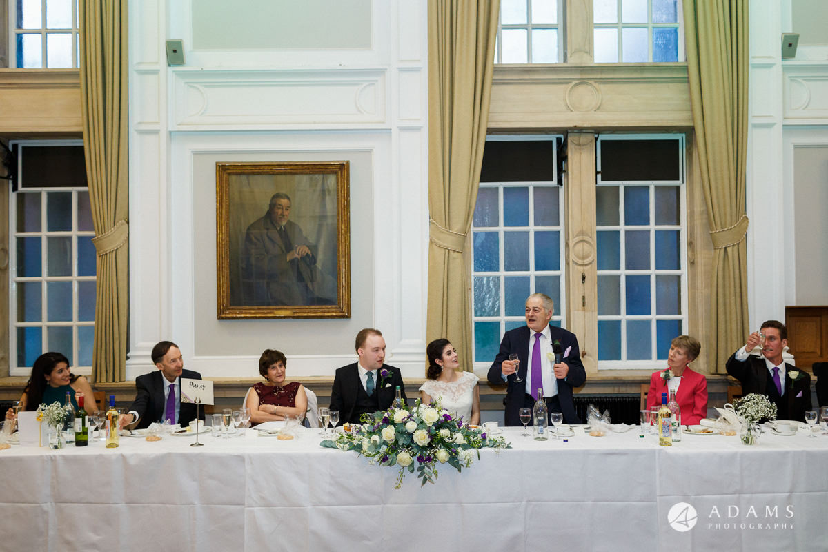 royal holloway wedding father of the bride speech view of the top table