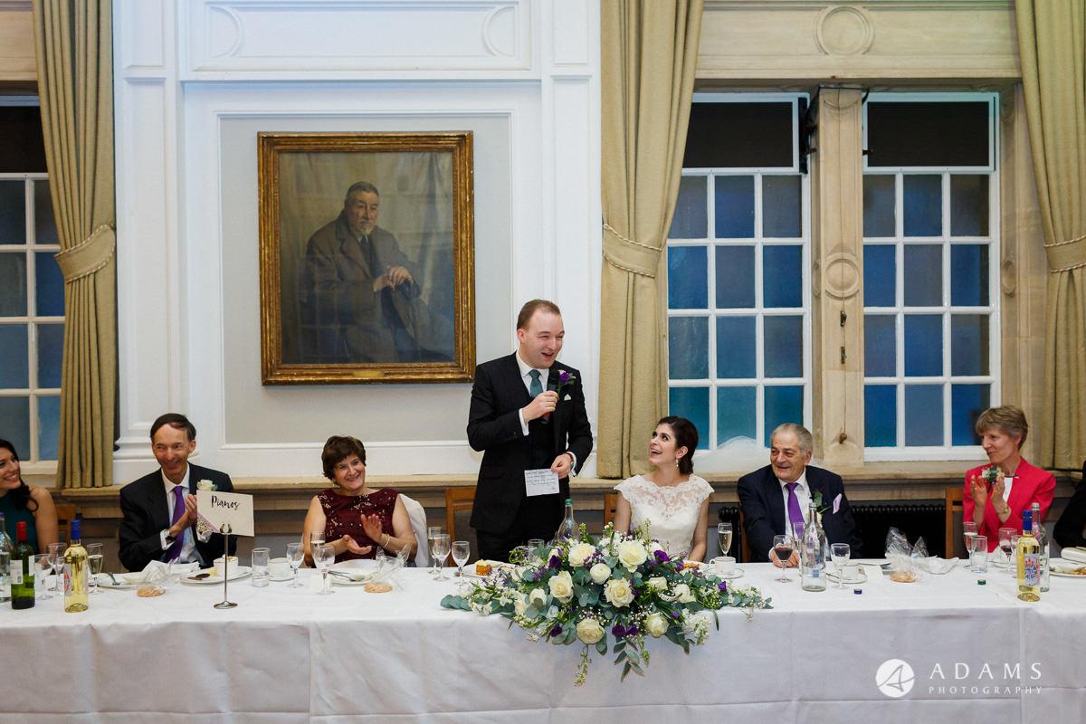royal holloway wedding groom speech looking on the bride