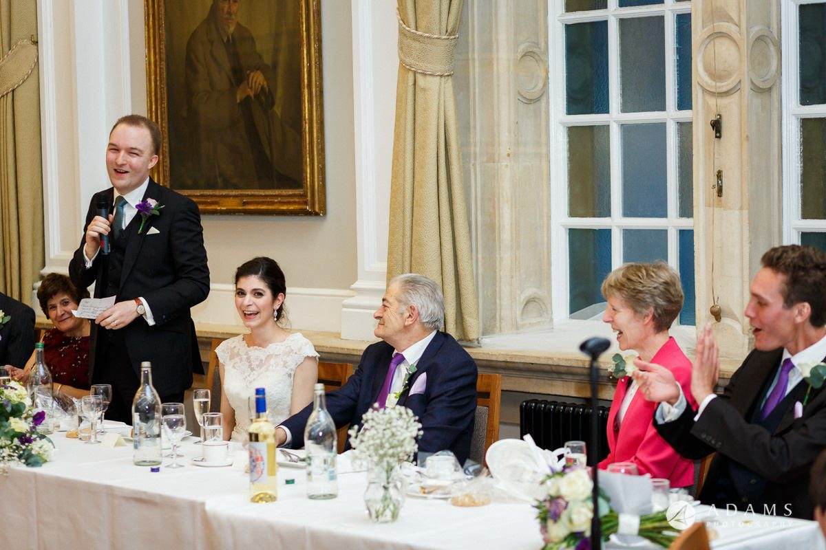 royal holloway wedding groom speech at top table