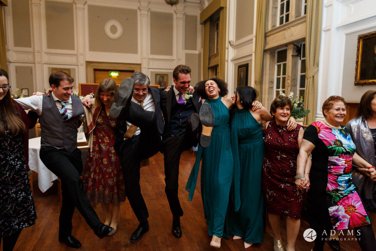 Royal Holloway wedding photography guests dancing