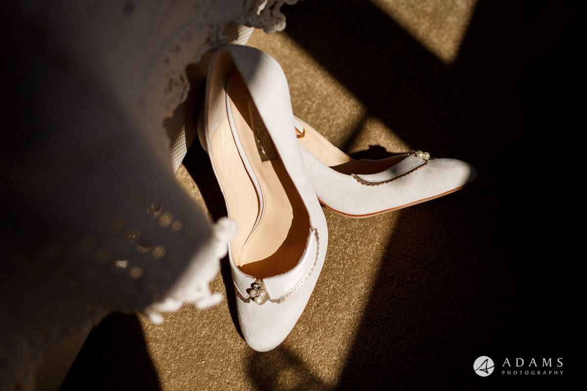 Royal Holloway Wedding bride shoes