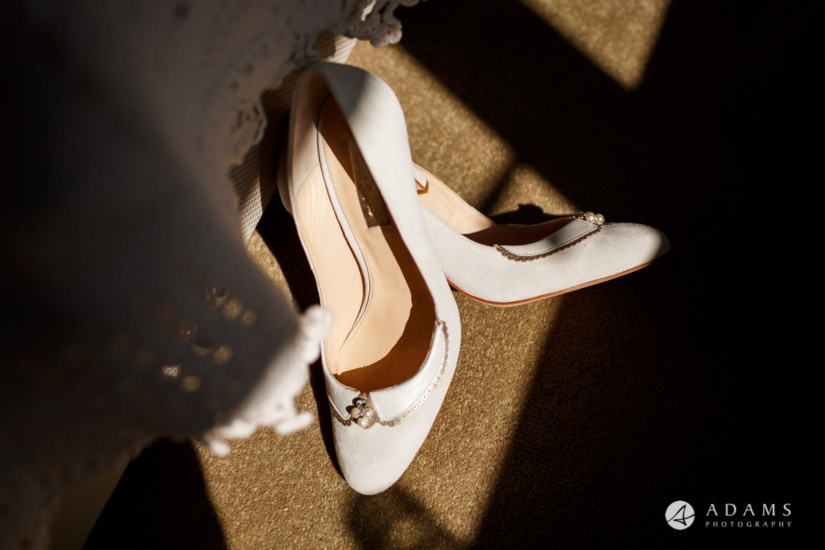 Royal Holloway Wedding bride shoes