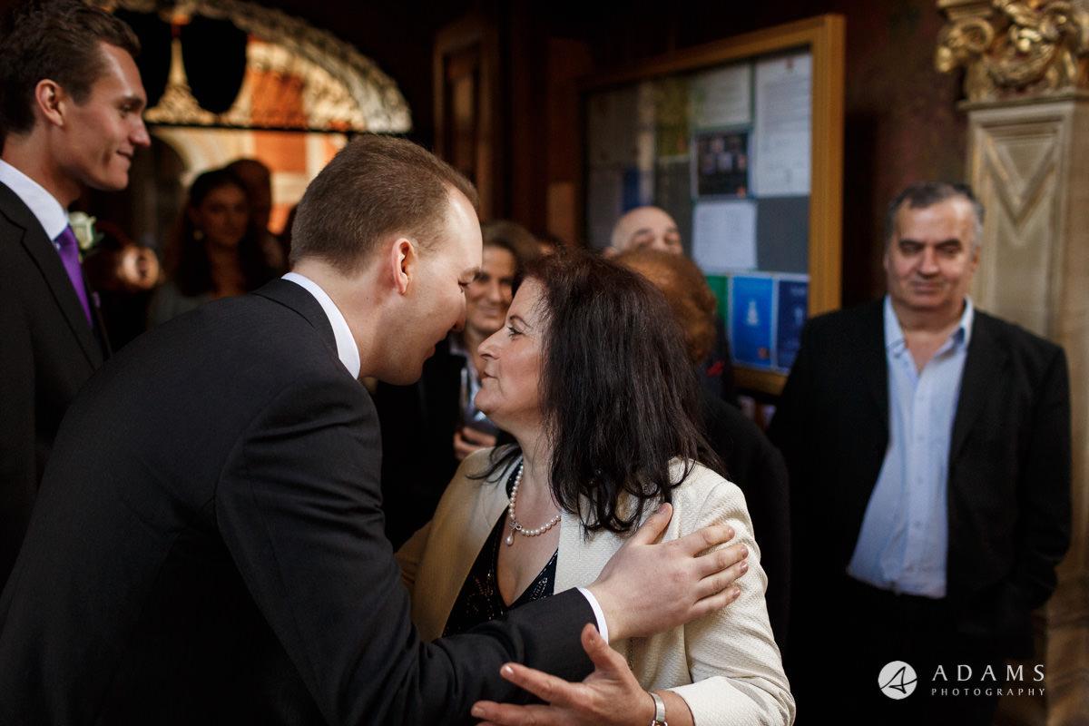 Royal Holloway Wedding groom welcomes guests