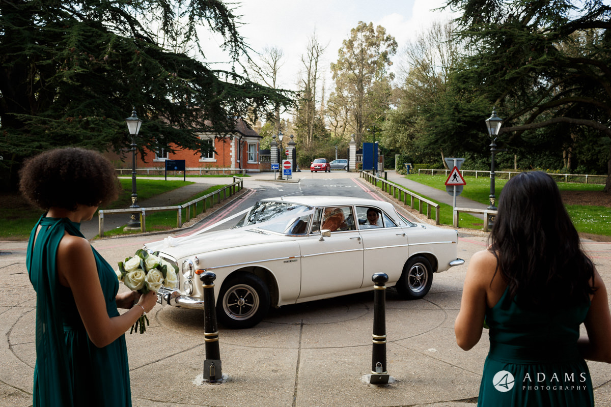 Royal Holloway Wedding bride arrives in the car Rover