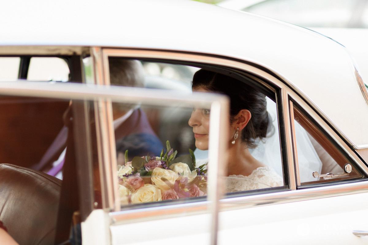 Royal Holloway Wedding getting of the car