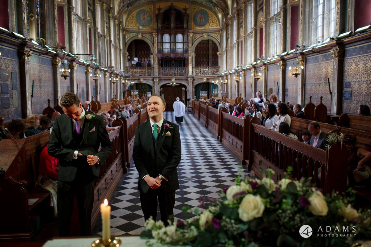 Royal Holloway Wedding groom waits for the bride