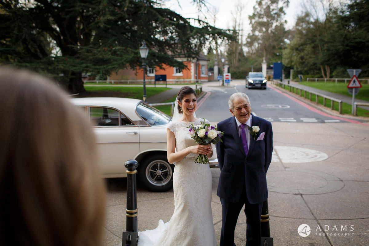 Royal Holloway Wedding bride walk with her father