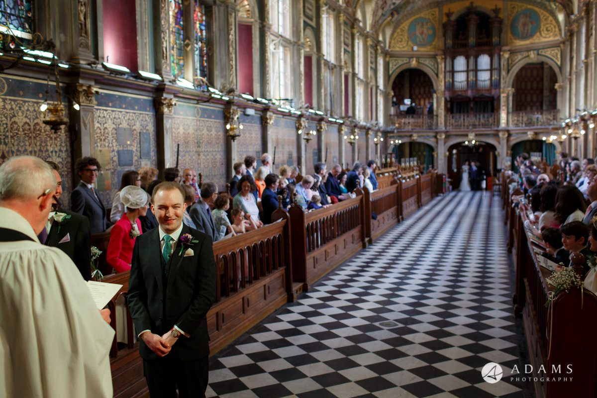 Royal Holloway wedding groom is waiting for the bride to arrive