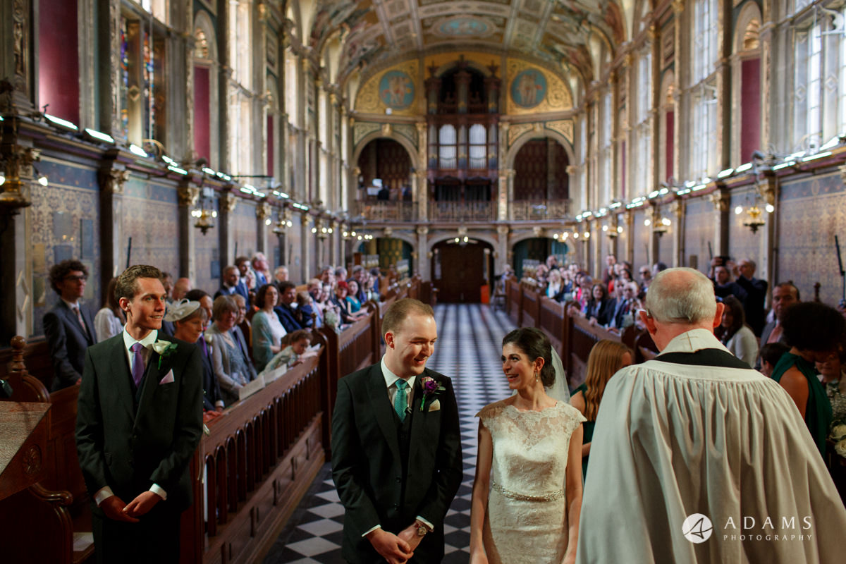 Royal Holloway wedding bride and groom in the chapel