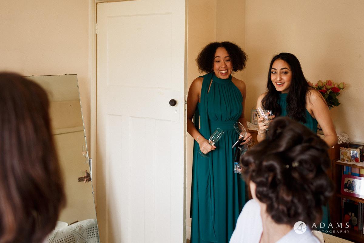 Royal Holloway Wedding bridesmaids enjoying the bridal preparations